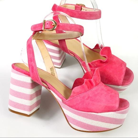 960d9dd292d2f Anthropologie Pink White Block Heel Ruffle Sandals